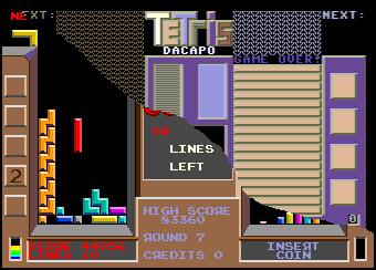 Pantalla de Tetris de Commodore 64